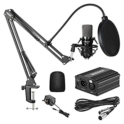 Neewer NW-700 Condenser Microphone Kit - Black Mic, Black 48V Phantom Power Supply,NW-35 Boom Scissor Arm Stand with Shock Mount and Pop Filter,XLR Male to Female Cable for Home Studio Recording