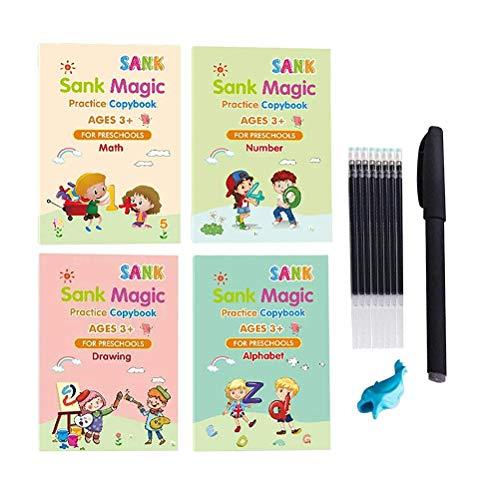 Emowpe Juego de caligrafía de Letras, 4 Piezas de Cuaderno de Dibujo, Libros de Ejercicios de Escritura a Mano, caligrafía, Juego de Cuaderno de Escritura a Mano para niños, educación