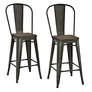 DHP Luxor Metal Counter Stool with Wood Seat and Backrest, Set of two, 24 , Antique Copper