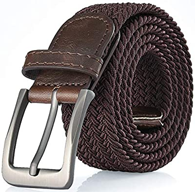 Gallery Seven Woven Elastic Braided Belt For Men - Fabric Stretch Casual Belt - Brown - Large