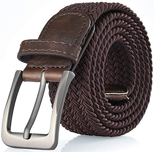 Gallery Seven Woven Elastic Braided Belt For Men - Fabric Stretch Casual Belt - Brown - Medium (36-40')