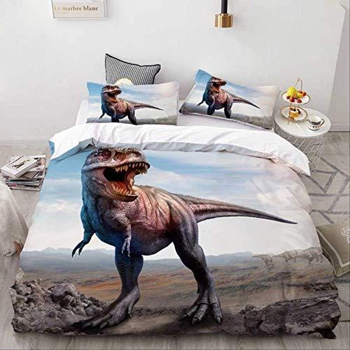 WGLG Double Duvet Set, 3D Cartoon Dinosaurs Home Textiles Kids Baby Children Duvet Cover Set Bed Sheet Pillowcase