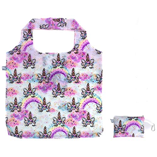 XL Reusable Grocery Tote Bag in Cute White Unicorn Print (Foldable, Heavy Duty, Washable, Ultralight) and Zippered Storage Pouch with Carabiner Key Clip