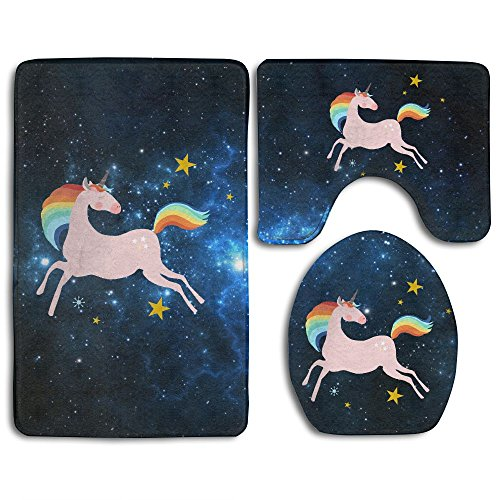 I'm Magical Rainbow Unicorn Skidproof Toilet Seat Cover Bath Mat Lid Cover