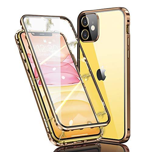 Ellmi Funda para iPhone 11, Adsorción Magnética Parachoques de Metal con 360 Grados Protección Case Cover Transparente Ambos Lados Vidrio Templado Cubierta para iPhone 11 (Dorado)