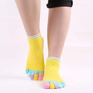 Colored Toe Non-Slip Rubber Socks Open-Toed Cotton Socks Yoga Socks,Fully Breathable