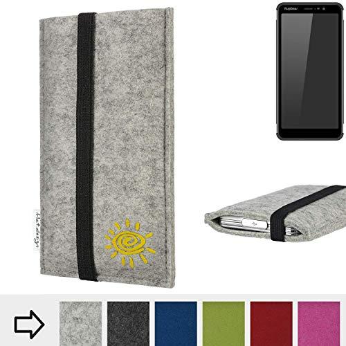 flat.design Handytasche Coimbra für Ruggear RG850 Filz Schutz Hülle Sonne Case Etui Filz Made in Germany hellgrau schwarz gelb