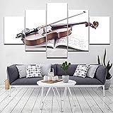 CELLYONE 5 Pinturas de Lienzo, póster, Arte de Pared, Sala de Estar, imágenes Impresas, 5 Piezas/Piezas, violín, Instrumentos Musicales, Moderno, HD, decoración del hogar, Pintura en Lienzo