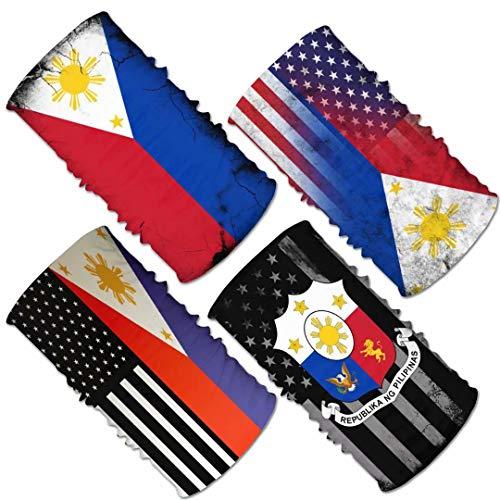 4Pcs Men&Women USA Philippines Flag Magic Headwear...
