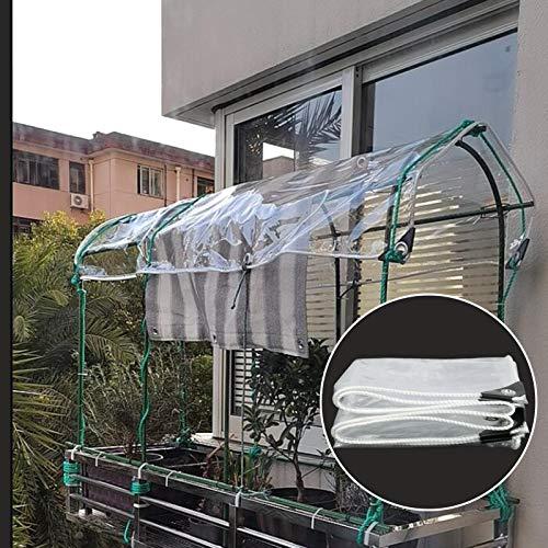 MAHFEI Lonas Impermeables Exterior, con Ojales Invernadero De Plantas Protección contra La Lluvia Y Las Heladas Transparente PVC De 0,3 Mm De Espesor Tienda De Camping Terraza
