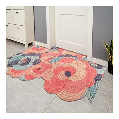 LMJ DIY Cuttable Wave Felpudo de Entrada Puerta de alfombras Inicio de Entrada de PVC Antideslizante Estera del Piso (Color : B, tamaño : 120x150cm)