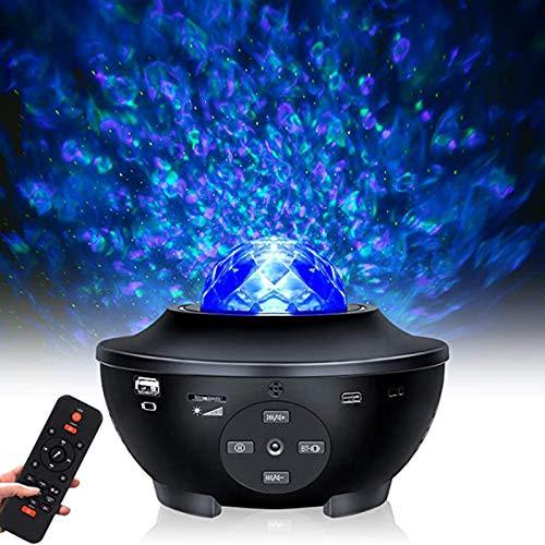 Proyector De Luz LED Star, Luces Nocturnas Ocean Wave Star Sky Con Bluetooth, Temporizador Y Control Remoto, Sueño Giratorio De 360 °, 10 Colores Que Cambian De Música Para Escenario, Dormitorio, Boda