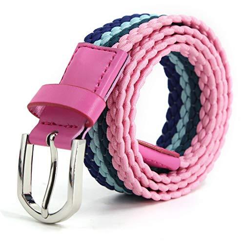 AnJuHoPa Mehrfarbiger elastischer Gürtel für Jungen und Mädchen 2,5 cm breit und 80 cm lang modisch und langlebig einfach zu bedienen Navy Blau Rosa