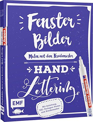 Vorlagenmappe Fensterbilder malen mit dem Kreidemarker – Handlettering: Mit Anleitung, 6 XXL-Vorlagen-Postern und original edding 4090 Kreidemarker (weiß)