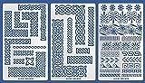 Aleks Melnyk Plantillas Stencils de Metal para estarcir/Nudo Celta y Adornos Griegos/para Arte Manualidades y decoración/Plantillas para Estarcidos/Bricolaje, DIY (Conjunto - Estilo: 1; 2; 3)