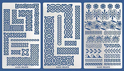 Aleks Melnyk #36 Metal Journal Stencils/Celtic Knot and Greek Ornaments, Scandinavian, Viking Symbols/Stainless Steel Stencils Kit 3 PCS/Templates Tool for Wood Burning, Engraving/Crafting/DIY