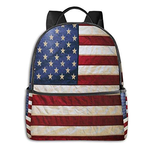 AOOEDM Backpack Shoulder Backpack USA Retro Large School College Laptop Backpacks Bag Bookbags