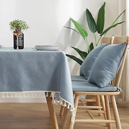 YuHengJin Manteles Mesa Antimanchas Piezas de Colore Borla de Lino de Algodón Nórdico Moderno para Cocina Comedor Cojín Azul Claro de 45×45cm