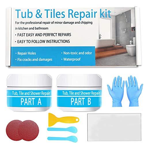 Tile, Acrylic Bath and Shower Repair Kits - White 5oz | Porcelain Repair | Shower Tray Repair & Countertop Refinishing Kit.