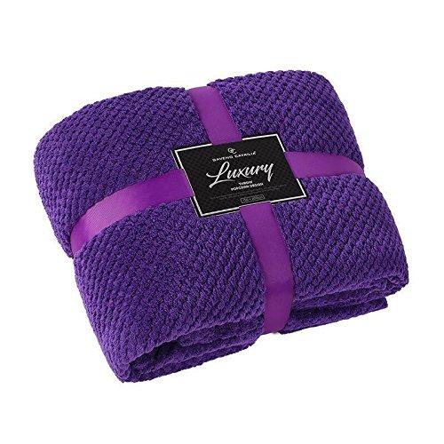 GC Super Soft Luxury Popcorn Textured Throws Fleece Blanket Sofa Bed Warm Large Settee (Double:150Cm x 200Cm, Purple)
