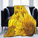 NIUJINMALI Sunflower Throw Fleece Blanket Flannel Ultra Soft Lightweight Microfiber Luxury Air Conditioner Quilt for Sofa Bedroom Office Travel All Season S 50'X40'