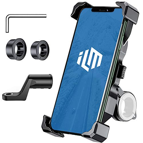ILM Phone Mount Cell Phones Holder for Motorcycle Bike 360° Rotation Adjustable Clamps Fits iPhone Samsung Galaxy HUAWEI HTC (Classic Phone Holder)