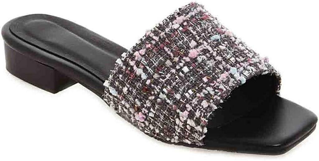 MIOKE Women's Slip On Low Heel Mule Slide Sandals Open Toe Summer Casual Comfort Block Heeled Dress Sandal