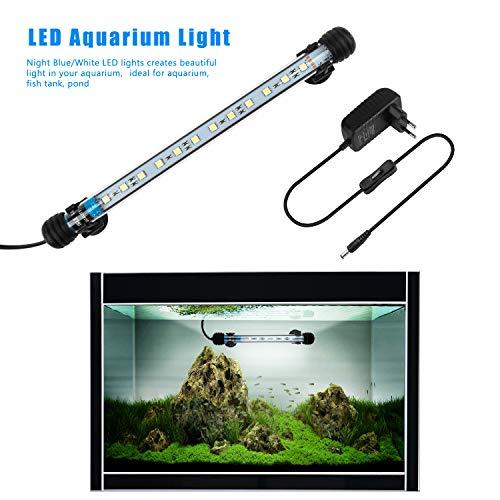 FTALGS LED Aquarium-Licht Unterwasser BeleuchtungAufsatzleuchte Abdeckung Wasserdicht Lampe Stecker EU für Fisch Tank mit (1.8x28cm, White)