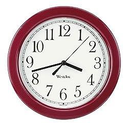 Westclox 46983 Round Simplicity Wall Clock, Burgundy Case, 8.5