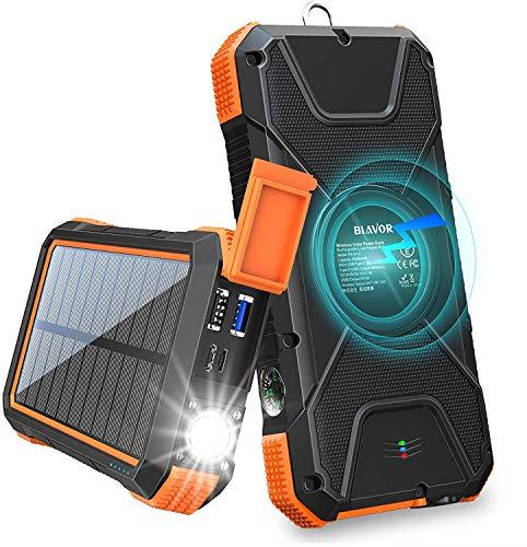 Cargador Solar Móvil 20000mAh Batería Externa Portátil Qi Power Bank Tipo C Puerto de Entrada Linterna Dual, Brújula, A Prueba de Salpicaduras