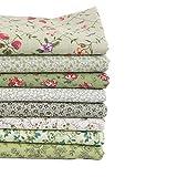 Tela floral de Coalar, 8 piezas, hojas de tela de arte con patrón de flores, material para álbumes de recortes, costura de 26 x 24 cm, mezcla de colores C