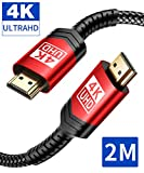4K HDMI Kabel 2M, JSAUX HDMI 2.0 auf HDMI Kabel 4K@60Hz Highspeed 18Gbps Kompatibel für UHD 2160P,...