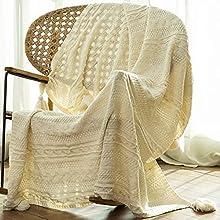Sylanfia Manta de Punto con Flecos y borlas, Color sólido, acogedora y torcida, 130 x 156 cm, para sofá, Manta Perezosa, Manta de Oficina, mantón Decorativo para el hogar