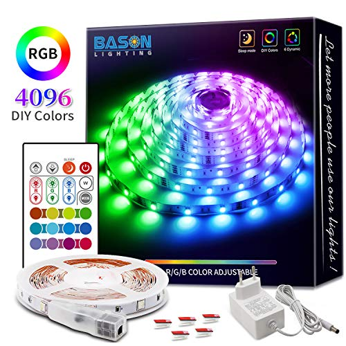 BASON RGB LED Strip, 5m Led Streifen mit 4096 Farben-DIY Flexible LED Leiste, SMD 5050 LED Stripes, LED Band mit Fernbedienung, Farbwechsel für Küche Regalbeleuchtung Weihnachten Zimmer Dekor