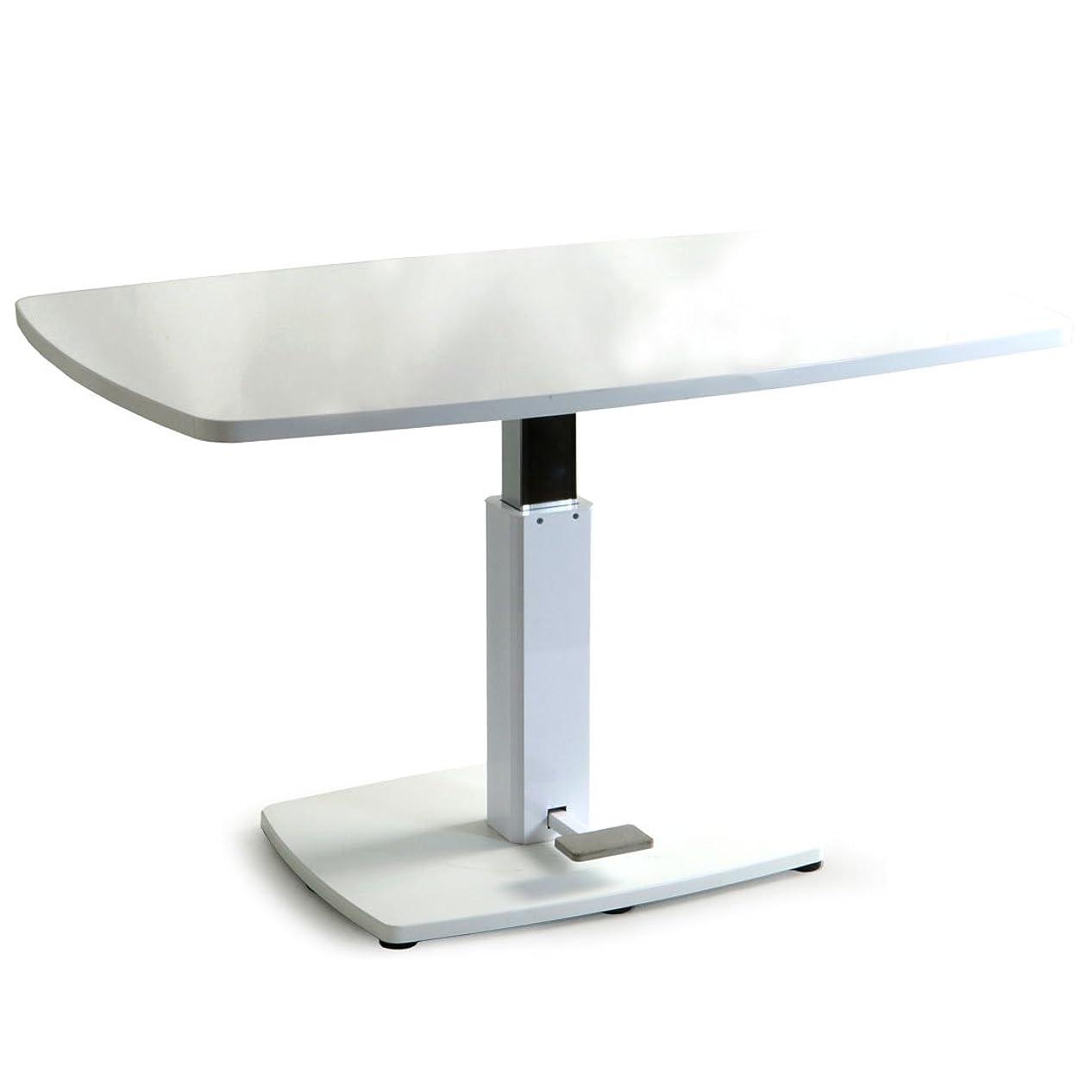 相続人アセ欲求不満タンスのゲン 昇降式 センターテーブル 幅120cm ダイニング 木製 鏡面仕上げ ホワイト 41900001 WH