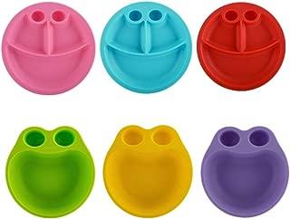 Eat4Fun Kids and Toddler Dining Set 6-Piece Set - 3 Plates (Red, Blue, Pink) & 3 Bowls (Yellow, Green, Purple)