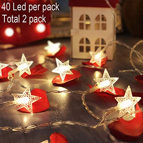 Twinkle Star 40 LED 14 FT Star String Lights Battery Operated, Fairy String Light for Home Ramadan Party, Christmas, Wedding, New Year, Garden Decoration (2 Pack, Warm White)