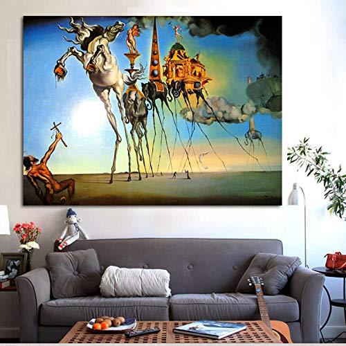 Salvador Dali Lienzo Pintura Arte Abstracto Caballo, Elefante clásico Arte de Pared Cuadros para Sala de Estar decoración del hogar impresión sin Marco 30x40 cm