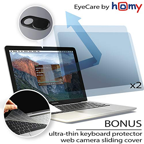 Homy Anti Blue Light Screen Protector Kit [2-Pack] for MacBook Pro 15 inch Touch Bar 2016-2017-2018-2019 + Keyboard Cover Ultra-Thin TPU + Web Camera Sliding Cover/Eye Protection Kit for A1707 A1990