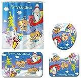 Navidad baño Mats Set, Baño Mats Set, for decoraciones de Navidad, Cuarto de baño elegante suave, E, 3SET, Tamaño: 4SET, Color: D (Color : D)