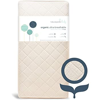 Naturepedic Organic Crib Mattress - 2-Stage Breathable Natural Mattress - Luxurious Quilted Removable Cover - Machine Washable - fits Standard Baby and Toddler Bed - Extra Firm