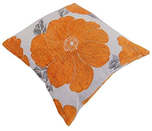 2 fundas de cojín gruesas de 45 cm, color naranja, blanco y plateado, de Poppi, de 45 cm