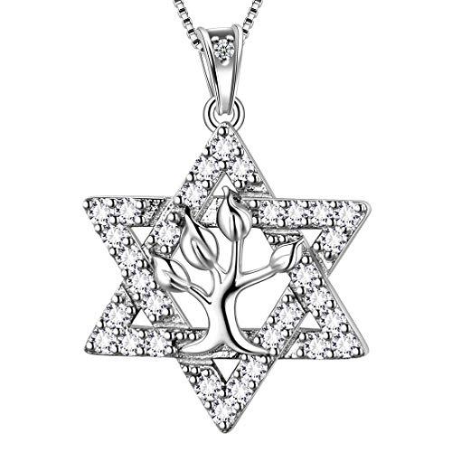 AuroraTears 925 Sterling Silber Davidstern Halskette Baum des Lebens Anhänger Jüdischen Schmuck Religiöse Judaica Geschenke für Frauen DP0114W