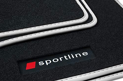 teileplus24 PV108 Tapis de Sol en Caoutchouc Sportline Design pour Audi Q5 2008-2016, Bordure :Argent