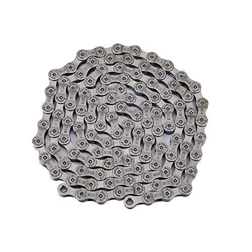 Zerone HG73, catena a 9 velocità, catena a sgancio rapido per mountain bike e bici da strada, colore: argento (116 maglie)