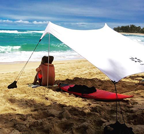 Neso Tenda da Spiaggia Tents con Ancoraggio a Sabbia, Parasole Portatile - 2.1m x 2.1m - Angoli rinforzati brevettati (Bianca)