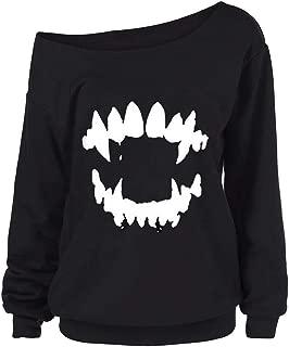 CUCUHAM women Halloween Gothic Punk Devil Teeth Printed Skew Collar Blouse Shirt
