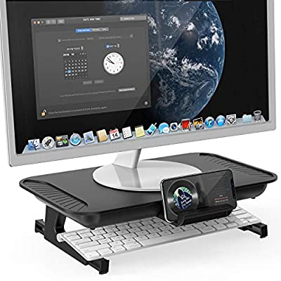 MiiKARE Computer Monitor Stand Built in Foldable Legs,Monitor Stand Riser with Storage,Height Adjustable Monitor Holder(L430mmxW250mmxH106mm/41mm)20KG Loadfor Computer,Screen Display,Laptop,TV,Printer