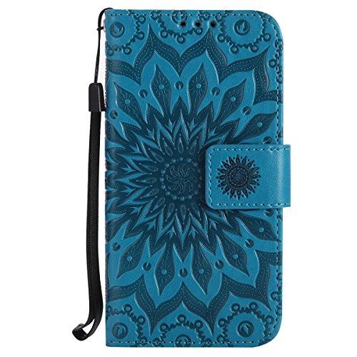 Ysimee Coque LG K3, Étui Portefeuille Magnétique en Cuir Fleur en Relief Folio Housse Con Antichoc TPU Bumper Poche de Cartes Fonction Support Coque à Rabat pour LG K3,Bleu