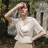 LYHMHZ Traje Cuello Diseño Sense Niche Falda Camisa De Gasa Mujer Verano Juvenil Francés Cuello En V Cintura De Manga Corta Camiseta Corta (Color : A, Size : L)